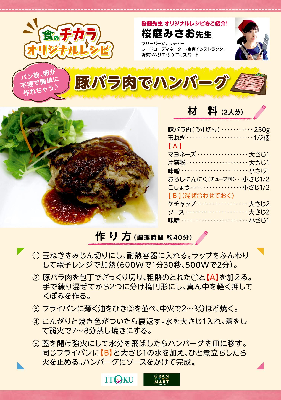 豚バラ肉でハンバーグ